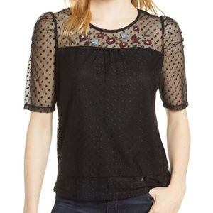 CeCe Embroidered Swiss Dot Blouse.